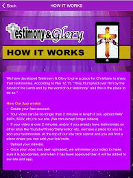 testimony and glory on the app