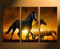 fresh design horse canvas wall art 3 piece multi panel panoramic prints black  on shadow rider horse canvas wall art with stunning ideas horse canvas wall art shadow rider western bedroom