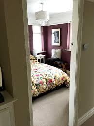 Little Greene paint company Adventurer paint - Dark bedroom walls -  Aubergine coloured walls in bedroom