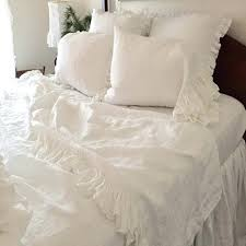 white washed ruffled pure linen duvet cover king size queen natural flax bedding children french cotton linen duvet cover