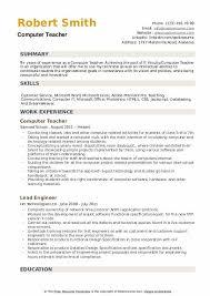 Microsoft Excel Resume Template Computer Teacher Resume Samples Qwikresume