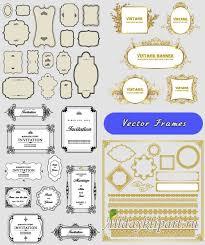 Золотые и пригласительные рамки винтажные баннеры Вектор  Золотые и пригласительные рамки винтажные баннеры Вектор