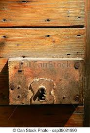 old rusty lock of antique wood door csp39021990