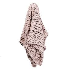 home republic chunky knit dusty pink rib throw