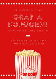 Movie Night Invitation Templates Red And White Popcorn With Dashed Lines Movie Night Invitation