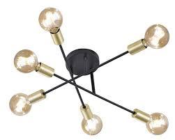 trio cross 6l e27 black gold ceiling lamp