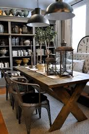 loving this dining room the rustic table metal chairs and upholstered bench 3 industrial chairs and upholstered bench with dining table