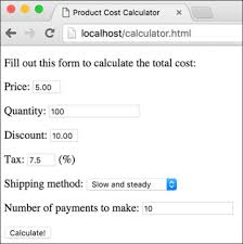 html calculator form using numbers creating the form peachpit