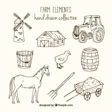 Sketches Animal Sketches Farm Accessories And Animals Vector Free Download