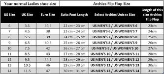 Size Guide Archies Footwear United States