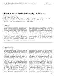 social inclusion exclusion dancing the dialectic pdf  social inclusion exclusion dancing the dialectic pdf available