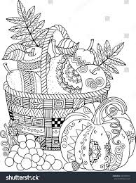 Coloring Book For Adult Thanksgiving Day Basket Of Apples