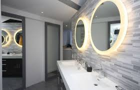 bathroom mirrors with lighting. Round Bathroom Mirror With Lights For Modern Designs 2016 Using Creative Wall Tiles And Latest Styles In Sinks Mirrors Lighting