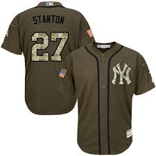 Majestic Authentic Giancarlo Stanton Mens Green Mlb Jersey