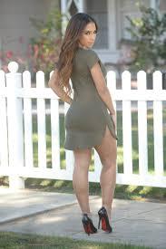 Summer Dresses Tori Tunic Olive Color O Neck Long Tee Slim Cut