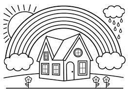 Tô màu Cầu Vồng và Ngôi Nhà - Trang Tô Màu Cho Bé