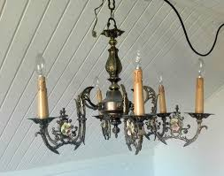 brass chandelier with porcelain flowers 6 lights