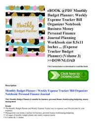 Bill Organizer Enchanting Ebook Pdf Monthly Budget Planner Weekly Expense Tracker Bill