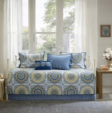 daybed bedding sets cover twin size quilted day bed blue medallion dorm 6 pc