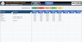 Vendor Comparison Chart Template Basic Price Comparison Template