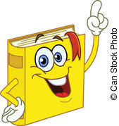 book cartoon pointing with his finger