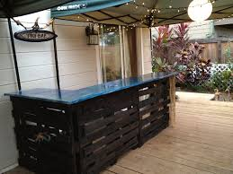awesome deck with outdoor bar diy made of wooden material in black again blue granite