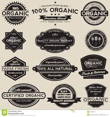 Vintage Food Labels Organic Food Labels Vector Collection Set Stock Vector