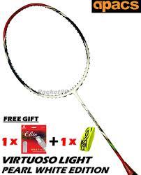 Apacs Virtuoso Light Badminton Racket Apacs Virtuoso Light Whi 6u Badminton Racket Foc Ap Elite Bz Grip