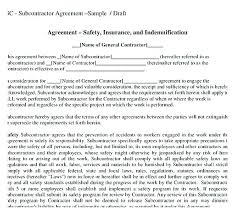 Independent Contractor Agreement Template Awesome Subcontractor Contract Template Pdf Example Agreement Free Download