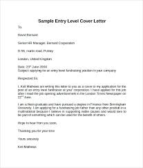 Sample Cover Letter For Entry Level Entry Level Cover Letter Templates 9 Free Samples