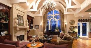 Upscale Living Room Furniture Living Room European Interior Design With Chandelier And Exposed