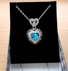 heart necklace blue heart pendant necklace swarovski crystal necklace crystal pendant crystal jewelry silver pendant heart jewelry