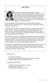 ANNA FRANK worksheet - Free ESL printable worksheets made by teachers