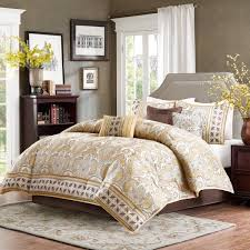 madison park chapman queen size bed comforter set bed in a bag gold jacquard damask 7 pieces bedding sets brushed polyester bedroom comforters