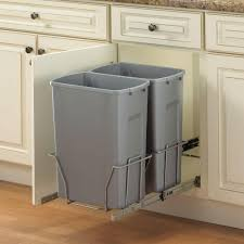 35 Quart Double Grey Pull Out Trash Can For Kitchen Storage Ideas