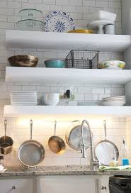 under cabinet lighting in diy floating open shelves