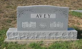 Headstones: Edward & Sybil (Milligan) Avey