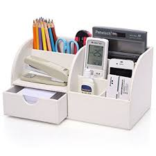 office desk storage. kingfomu0026trade 7 storage compartments multifunctional pu leather office desk organizerdesktop stationery box