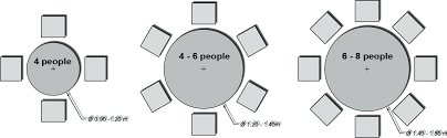 nice 6 person round dining table 8 seating chart