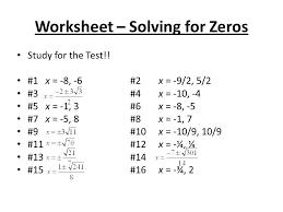 worksheet solving for zeros