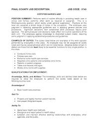Nursing Home Job Description Resume Healthcare Medical Resume Free Cna Samples Examples Certified 16