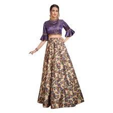 Designer Crop Top Skirt Amazon Com Designer Evening Cocktail Wear Satin Silk Cold