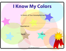 free preschool certificates i know my colors printable certificate