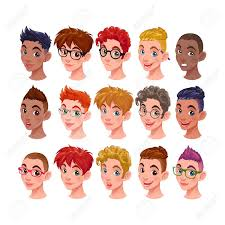 さまざまなヘアスタイルとアクセサリーを持つ男の子のセット分離文字を