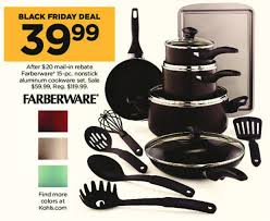cookware black friday.  Cookware Kohlu0027s Black Friday Farberware 15pc Nonstick Aluminum Cookware Set For  3999 After 2000 And Friday D