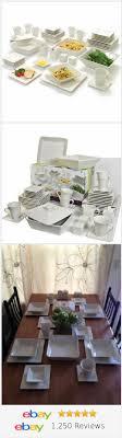 Kitchen Dinner 45 Piece White Dinnerware Set Square Banquet Plates Dishes Bowls