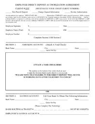 Employee Direct Deposit Authorization Agreement 27 Printable Employee Direct Deposit Authorization Form