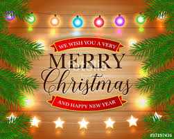 merry christmas and happy new year cards. Simple Christmas Merry Christmas And Happy New Year Card With Lights Pine  Branches Xmas Holiday For And Cards D