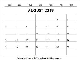 Calendar 2019 Printable With Holidays August 2019 Calendar Calendar Printable Template Holidays 2019