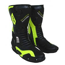 mbu black fluorescent leather motorbike motorcycle biker racing boots shoes small l
